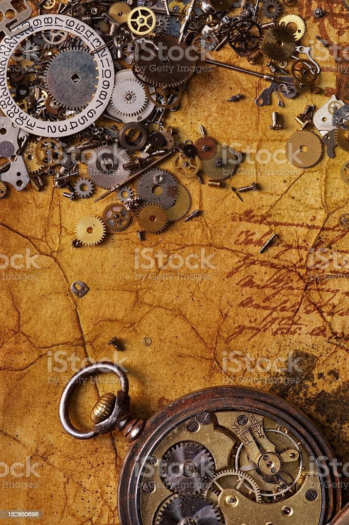 The old gears on  textured paper royalty-free stock photo