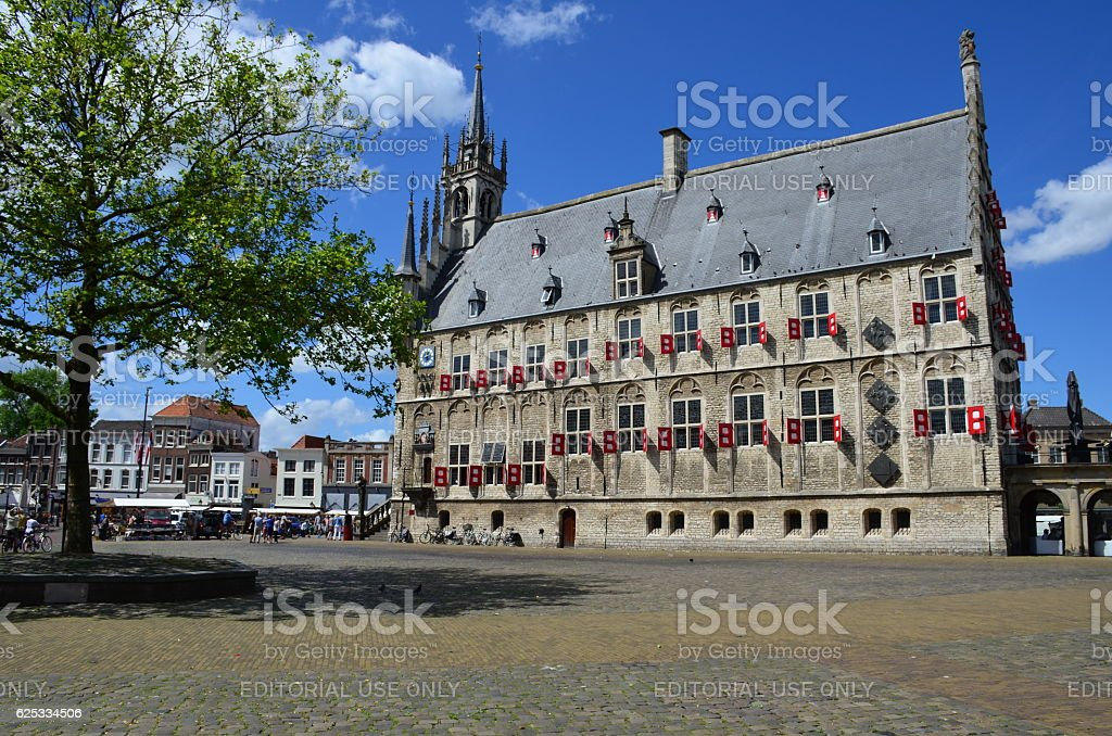 The old Gothic city Hall of Gouda, Netherlands stock photo