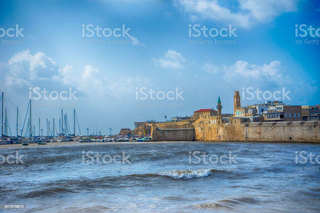 O antigo porto de acre, israel - foto de acervo