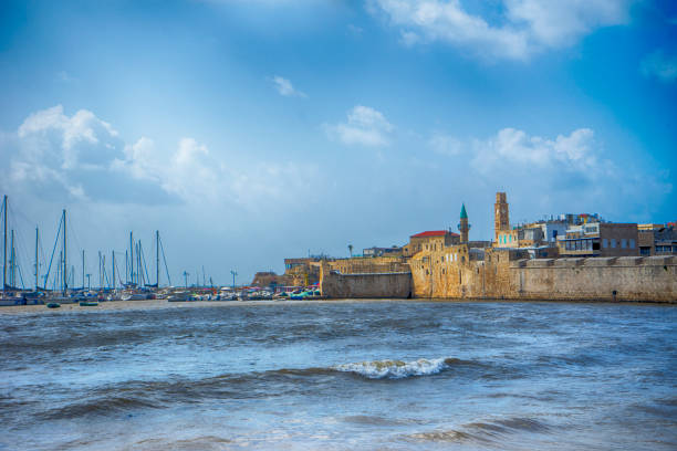 The old harbor of acre, israel stock photo