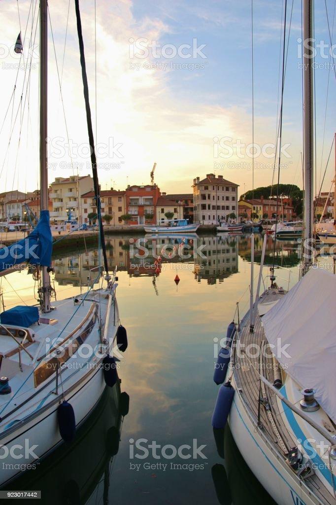 The old harbor of Grado , Italy. stock photo