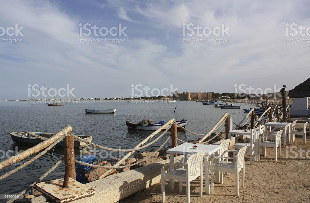 The old harbor of Houmt Souk/Djerba royalty-free stock photo