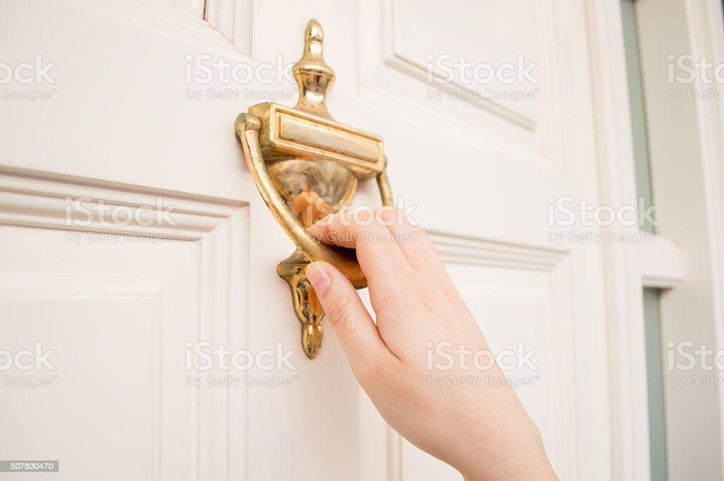 the old knock door stock photo