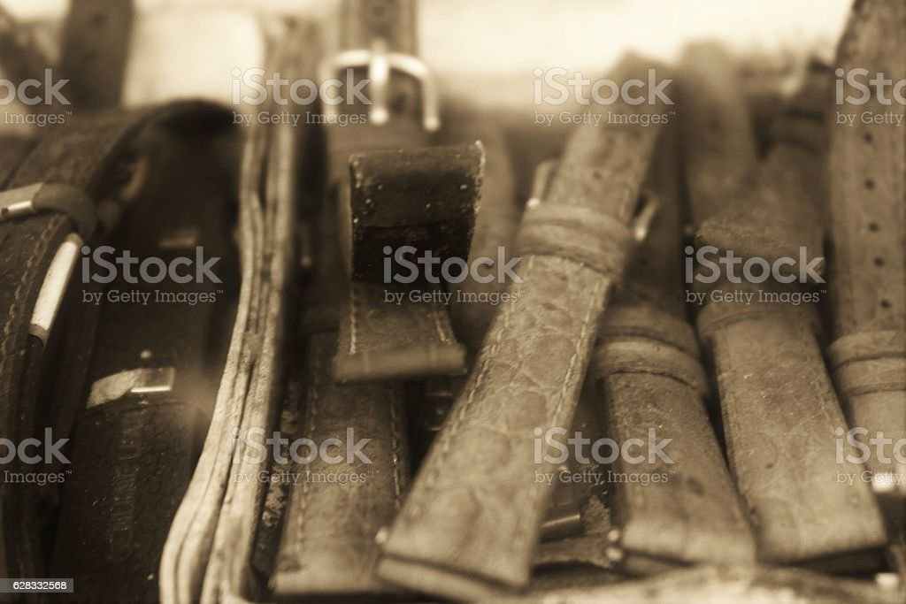 The old leather watch straps stock photo