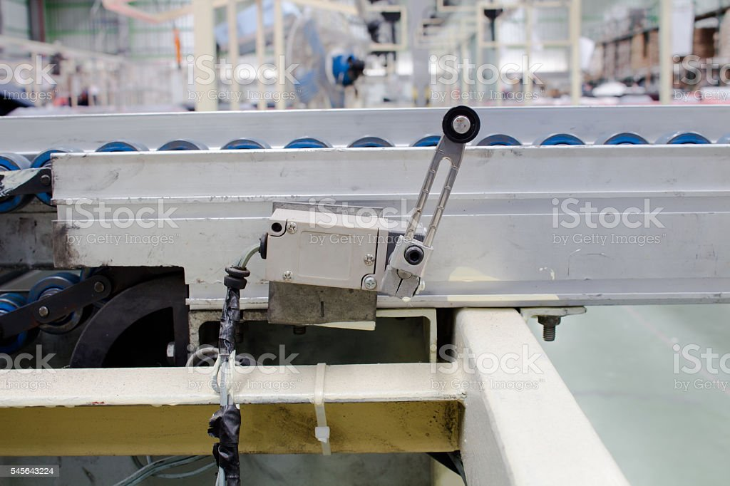 The old limit switch in pneumatic systems. Power and hydraulics. stock photo
