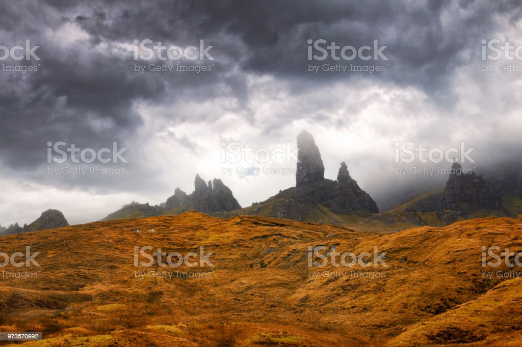 The Old Man of Storr emerges from the clouds stock photo