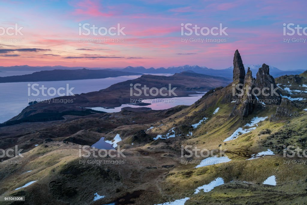 The Old man of Storr in morning time with colorful sky in winter time stock photo