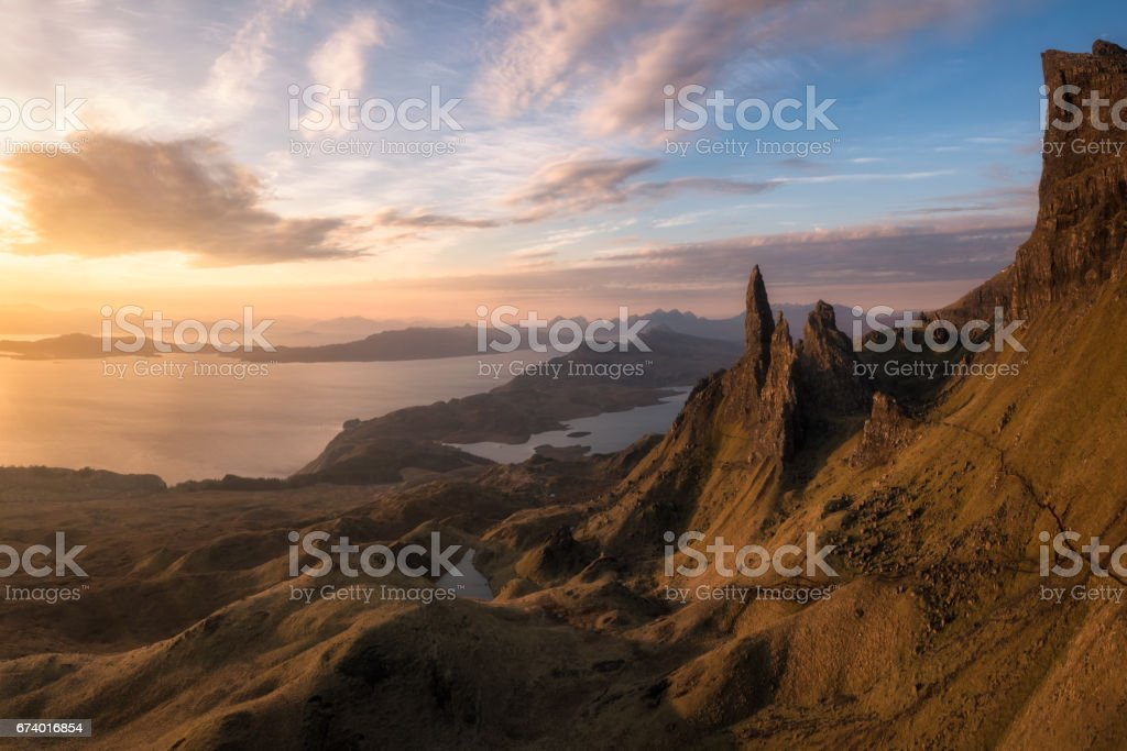 The Old Man of Storr, Isle of Skye, Scotland. Warm sunrise stock photo