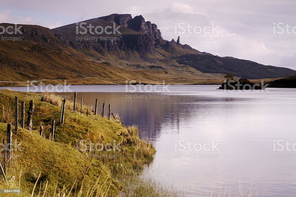 The Old man of Storr over Loch Leathan royalty-free stock photo