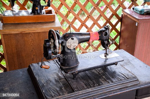 istock The old manual sewing machine 947340054
