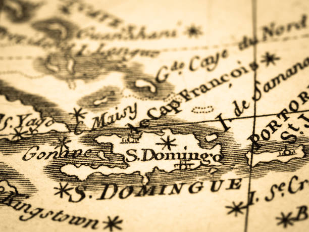 The Old Map Dominican Republic Stock Photo & More Pictures of 18th ...