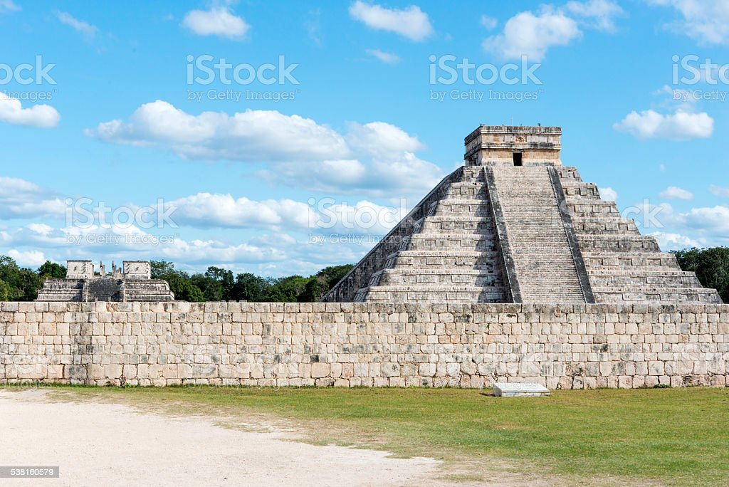 The old Mayan monuments in Chichen Itza, Mexico stock photo