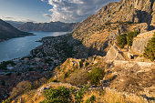 The old Mediterranean port of Kotor, Kotor fortress, Bay of Kotor, Kingdom of Dalmatia, Balkan Peninsula, Montenegro, Europe