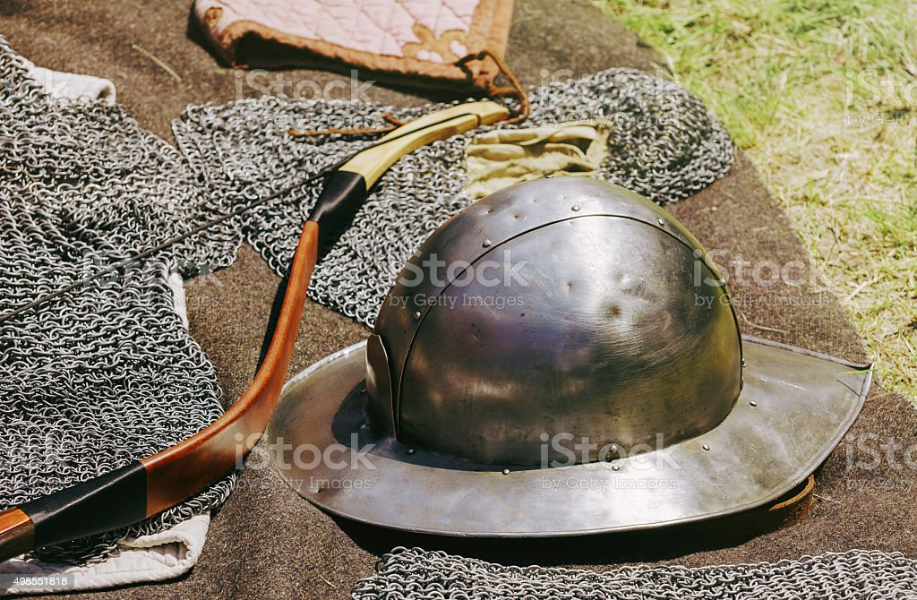 The Old Metal Helmet stock photo