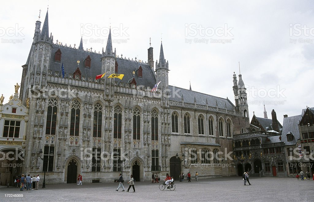 \'The old middle aged city hall of Brugge, Belgium\'
