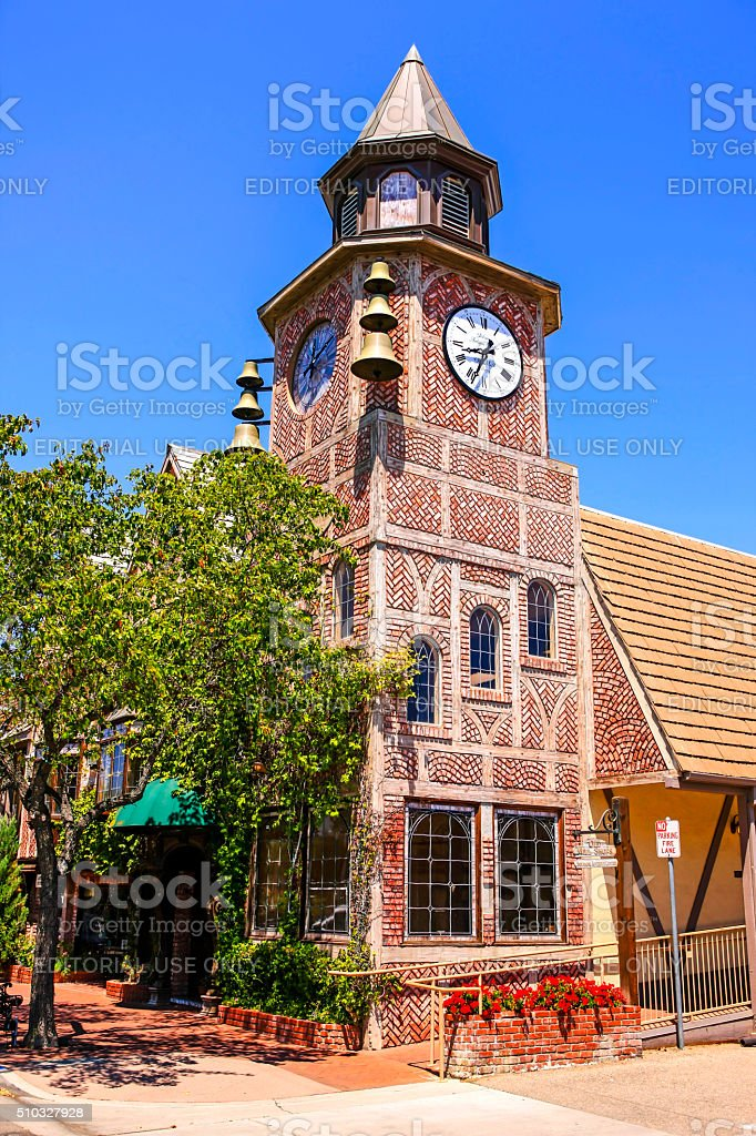 The Old Mill clock tower in Solvang CA stock photo