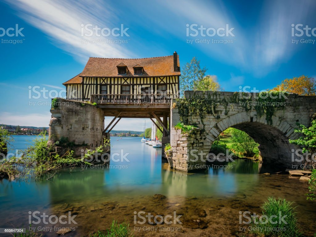 The Old mill on the broken bridge, Vernon, Normandy, France stock photo