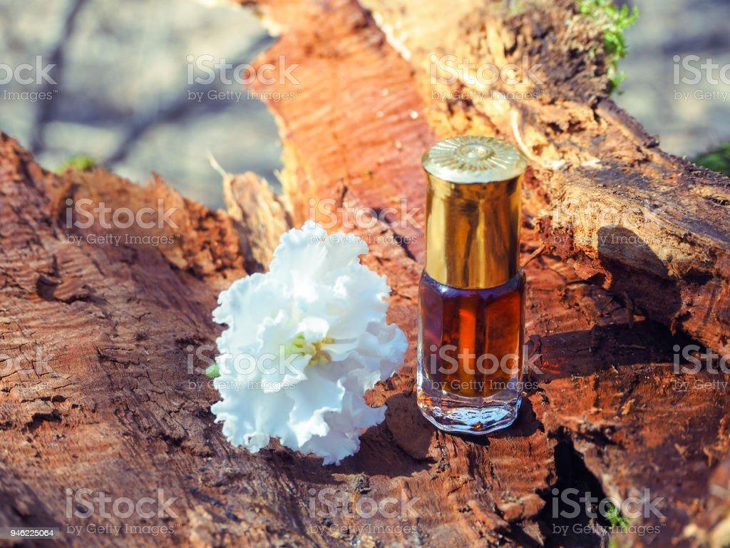 L'huile usagée dans les arbres de bois d'agar et de bois de santal. Parfum concentré indienne. - Photo