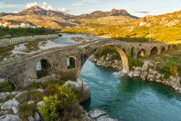 The Old Ottoman Mesi Bridge in Shkoder stock photo