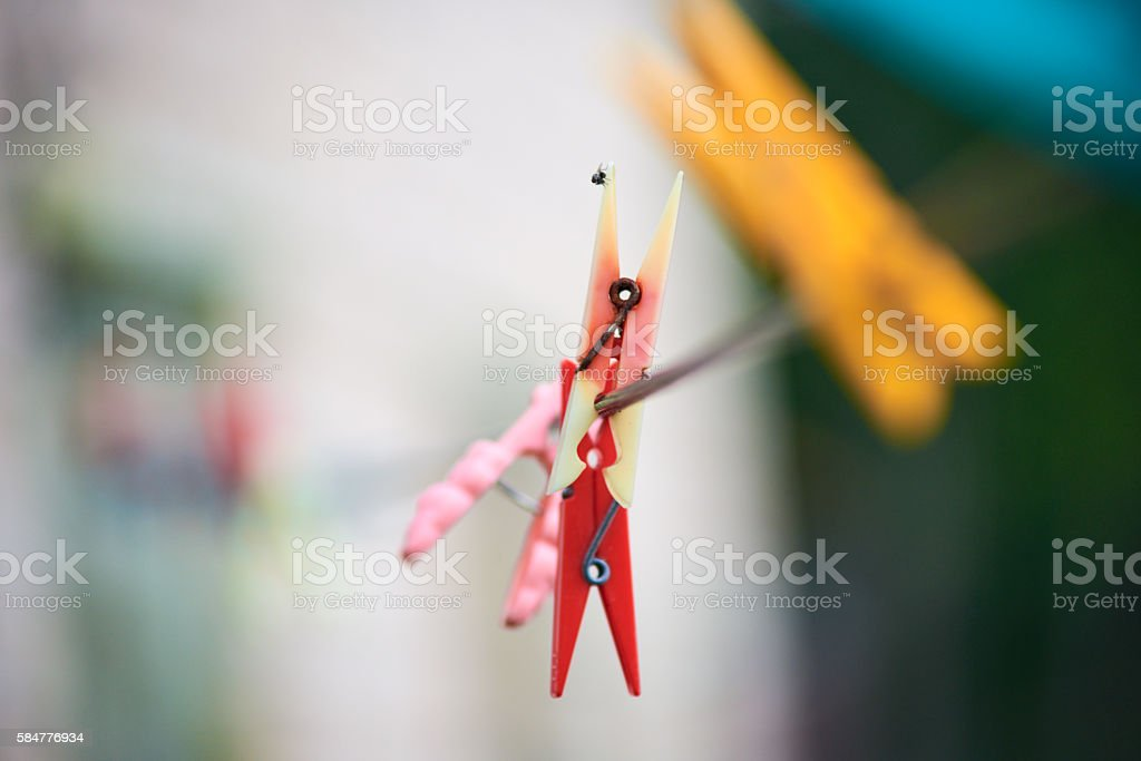The old plastic, colored clothespins stock photo