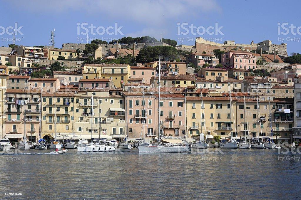 The old port of Portoferraio on Elba island royalty-free stock photo