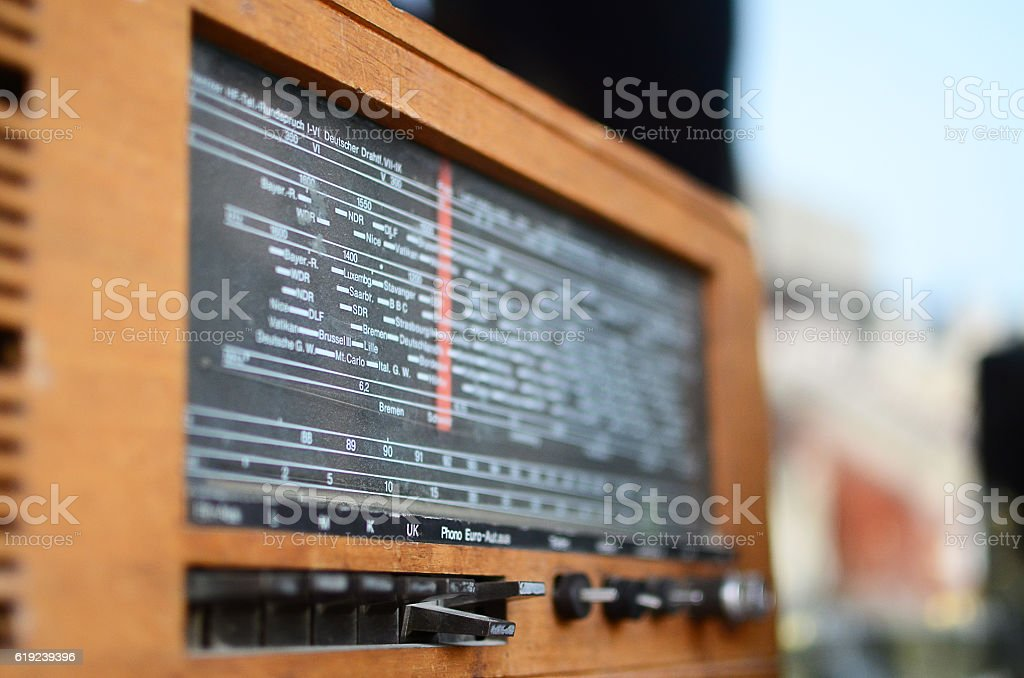 The old radio for sale at a shop. stock photo