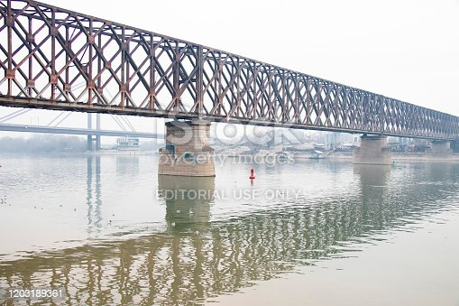 Belgrade, Serbia - January 26, 2020: The Old railway bridge  above Sava river
