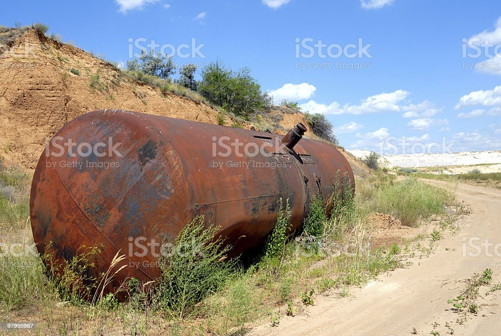 The old railway tank for transportation of mineral oil royalty free stockfoto