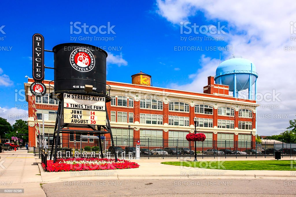 The old railway water tower in Fargo, North Dakota stock photo