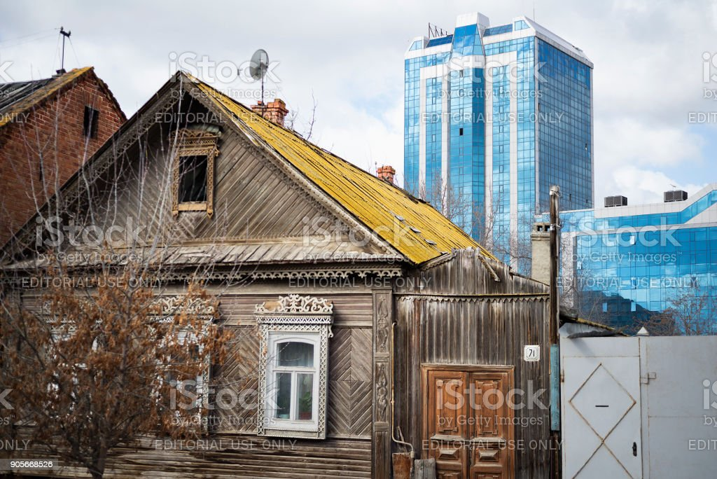 The old Russian house, the times of the Russian Empire in the historical part of the city, Selensky district stock photo