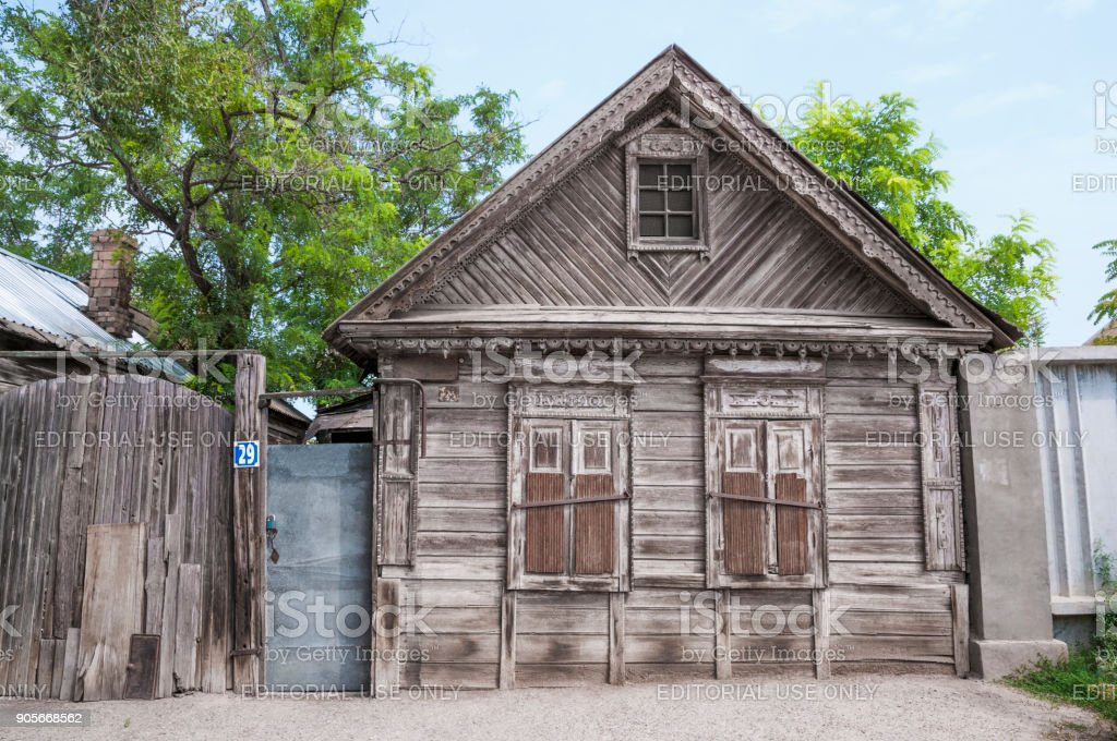 The old Russian house, the times of the Russian Empire (Eastern part of the old city of Astrakhan, Russia) stock photo