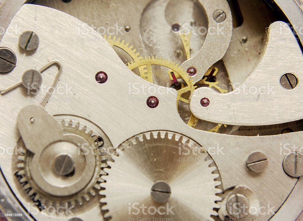 the old rusty clock mechanism isolated on white stock photo