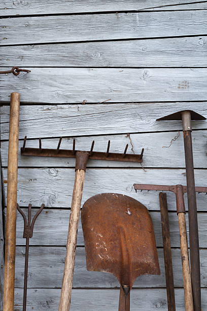 The old rusty tradition tools stock photo