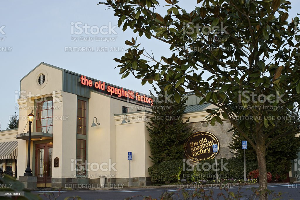 The Old Spaghetti Factory Restaurant Hillsboro Oregon Entrance and signs royalty-free stock photo