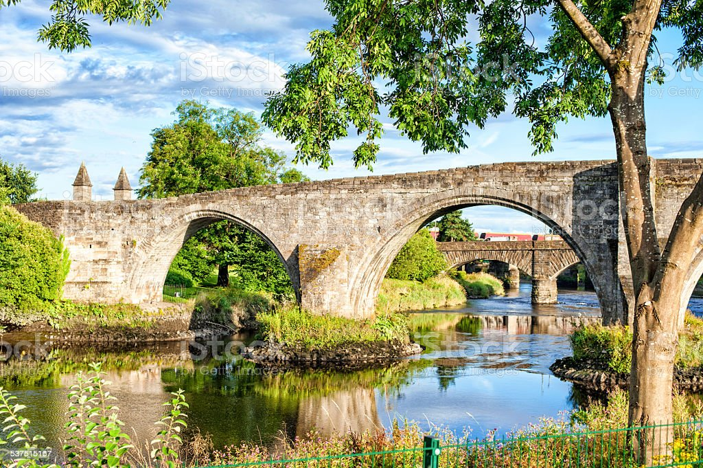 The old stone bridge of Stirling. Scotland. stock photo