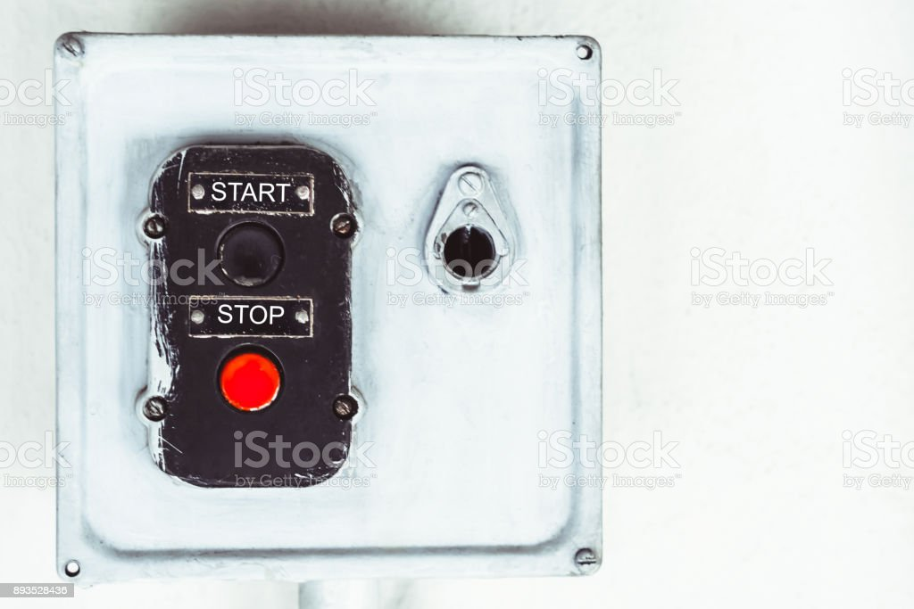 the old stop button start stock photo