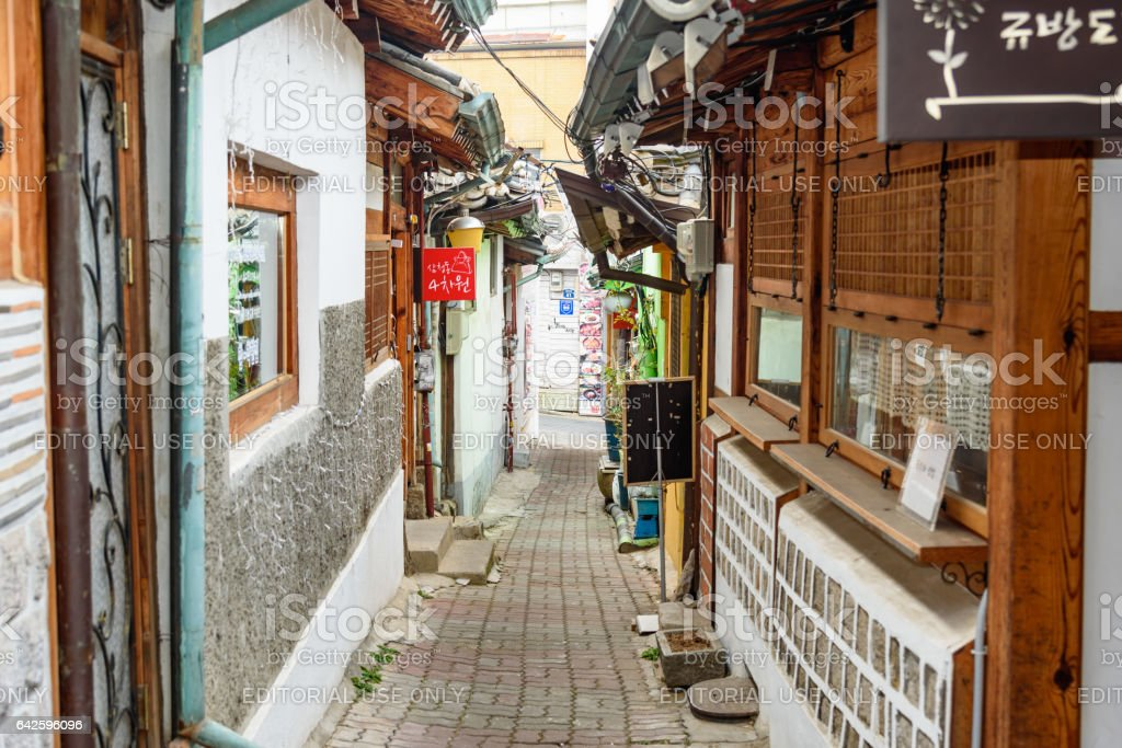 The old street of Bukchon in Seoul stock photo