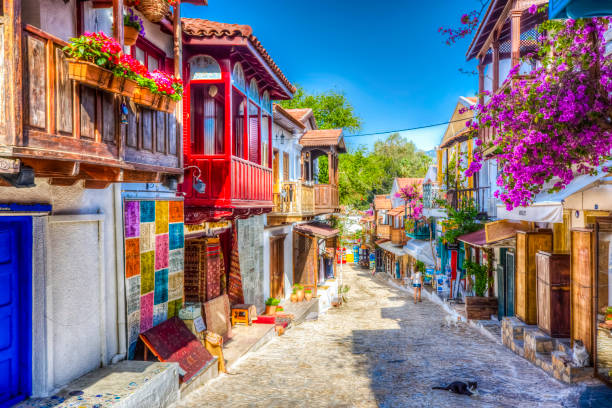 The Old streets of Kas Town in Turkey stock photo