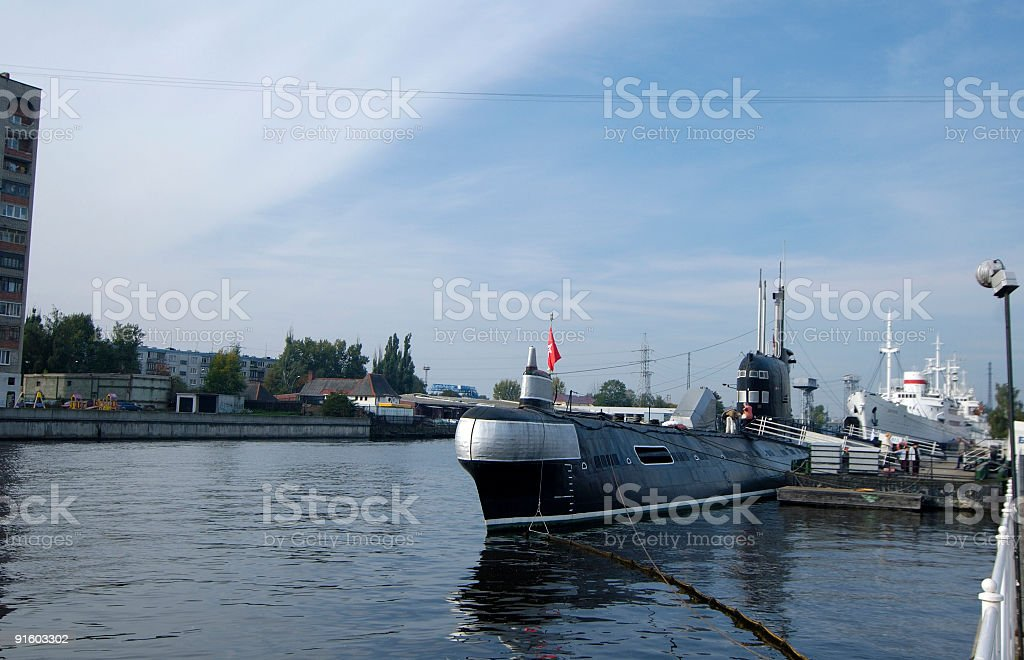 The old submarine in World Ocean museum.  royalty-free stock photo