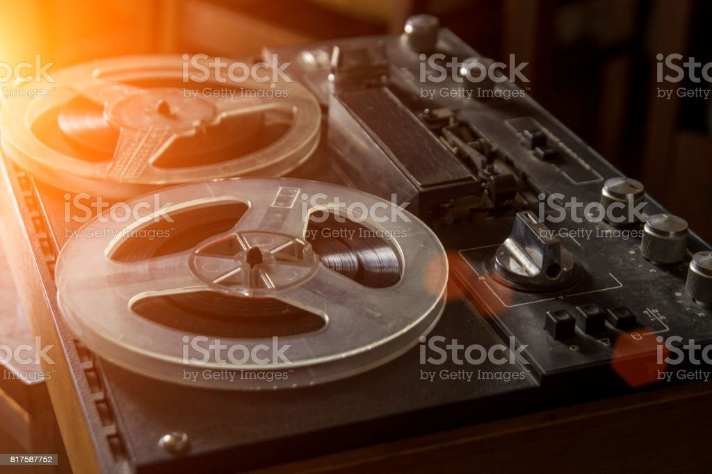 The old tape recorder, vintage tape recorder stock photo