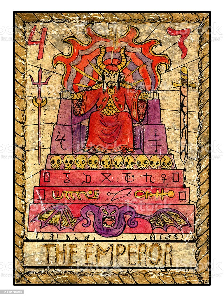 The Old Tarot card. The Emperor stock photo