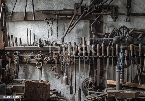 istock The old tools in an ancient smithy 1048800388