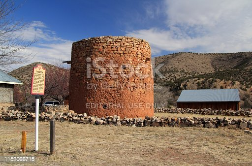 Lincoln, New Mexico – March 4, 2017: The old Torreon in Lincoln, New Mexico, served as protection against the Apaches and also played a role during the famous Lincoln County War