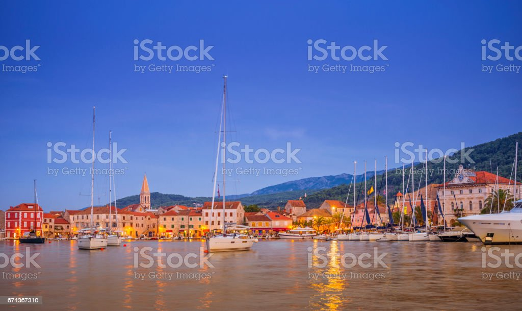 The Old Town and Harbour of Stari Grad on Hvar, Croatia stock photo