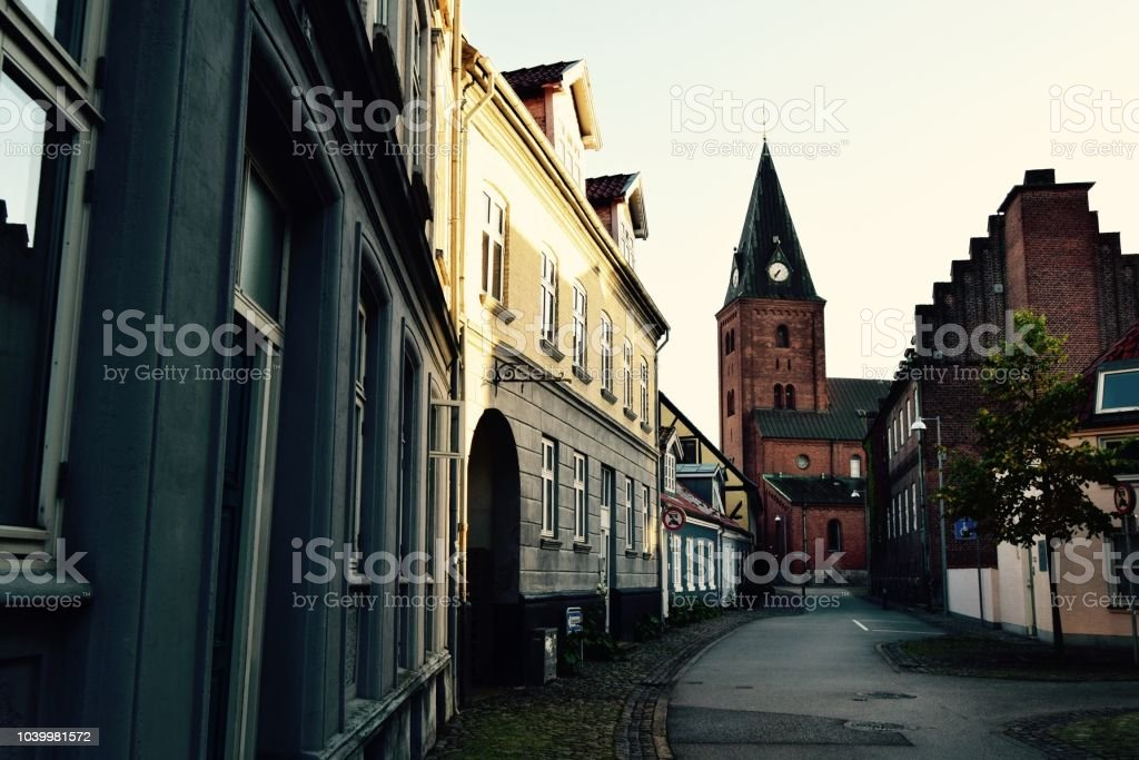 The old town of Aalborg stock photo