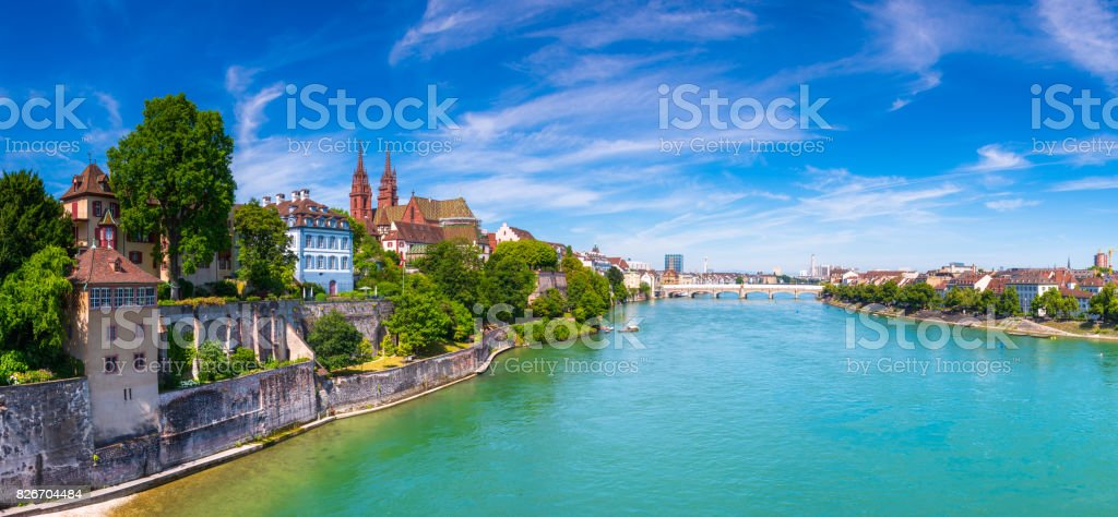 The Old Town of Basel with red stone Munster cathedral and the Rhine river, Switzerland. stock photo