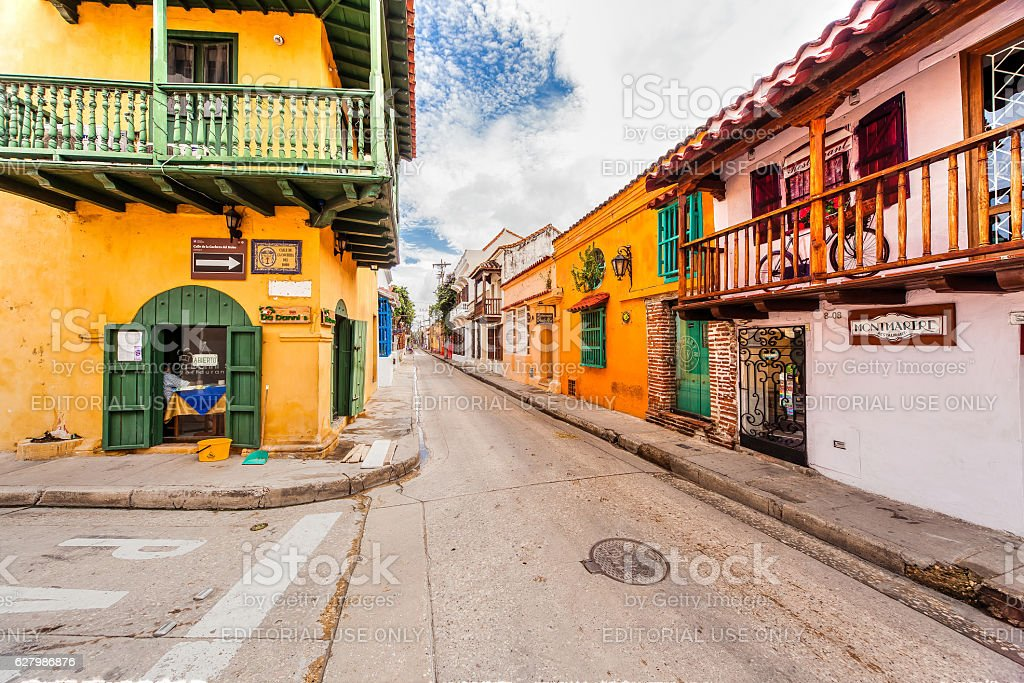 The old town of Cartagena with its unique architecture. stock photo