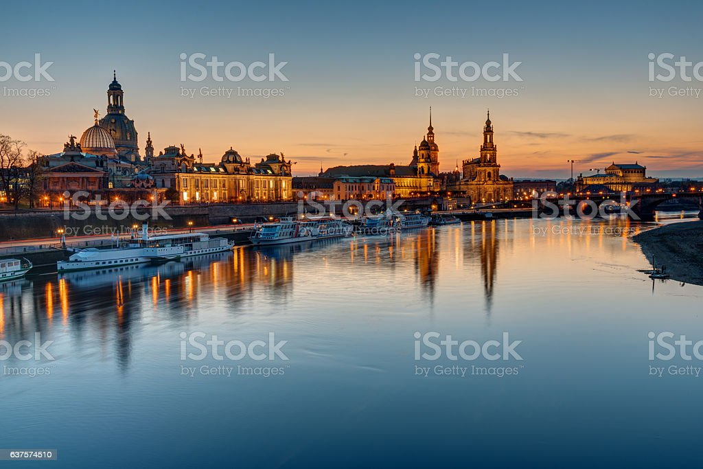 The old town of Dresden at sunset stock photo