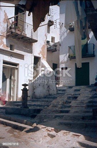 Ibiza Town, Ibiza, Catalonia, Spain, 1969. Alleys in the old town of Ibiza.