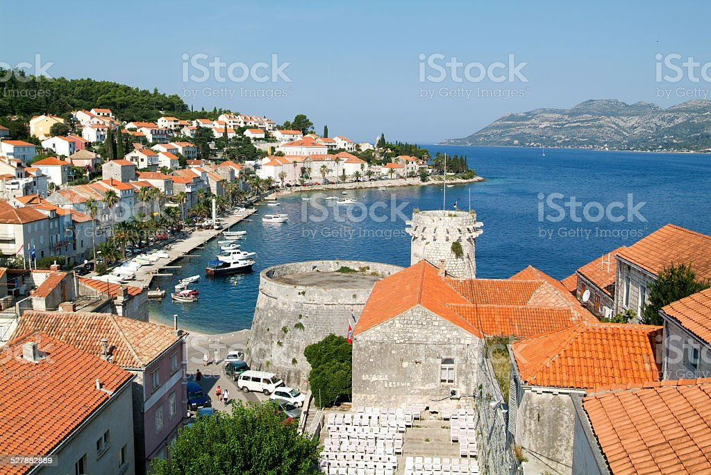 The old town of Korcula stock photo
